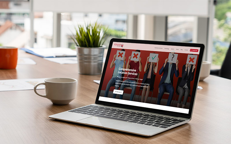 Venandi Systems' new website on a laptop